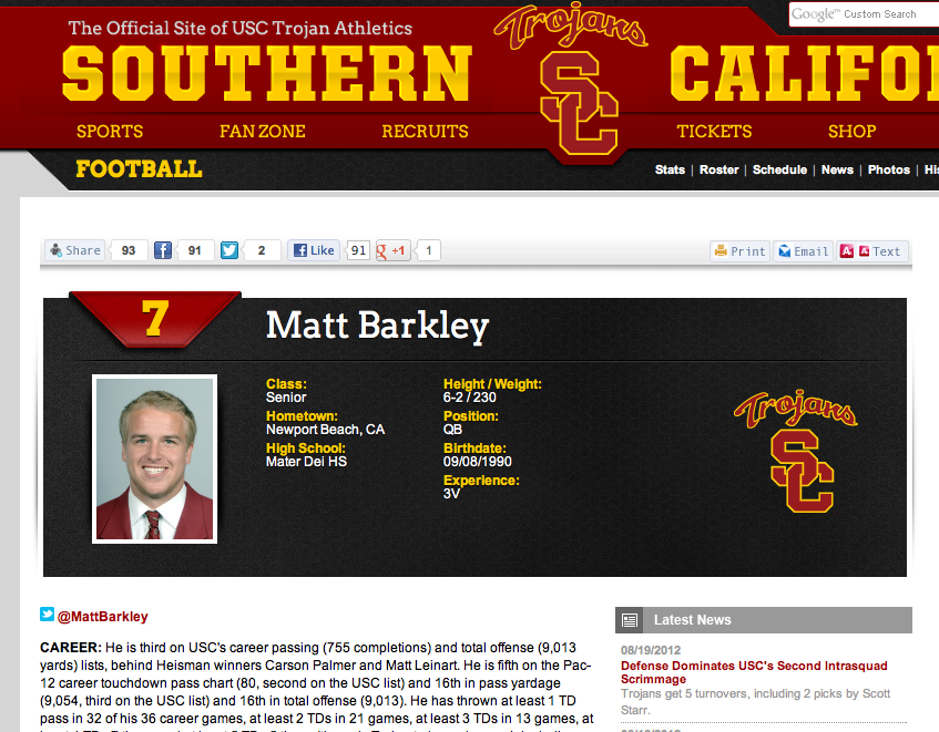 Trojans Include Twitter Handle On Player Bio's