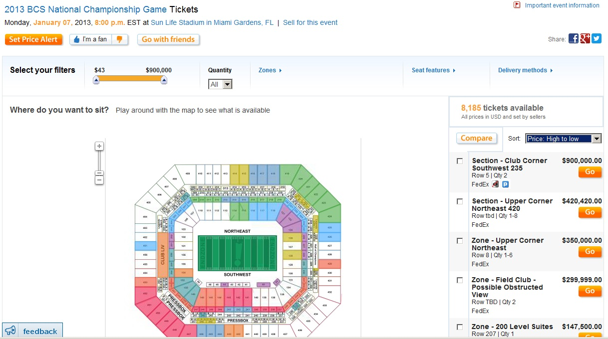 tickets2 StubHub Lists 2013 BCS National Championship Game Ticket Pair for $900,000.00